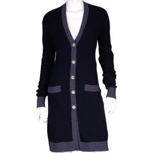 CHANEL Navy & Slate Cashmere Crown Buttons Sweater